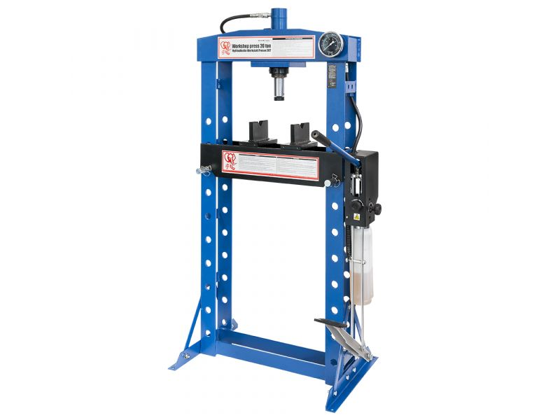 Hydraulic press 20 ton 10 heights 190 mm stroke length dubbel pomp