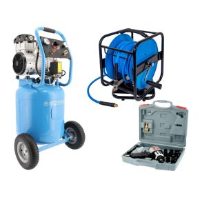 Silent oil free air compressor LMVO 40-250 8 bar 2 hp 150 l/min 38 l Job Package