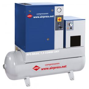 Screw Compressor APS 7.5 Basic Combi Dry 10 bar 7.5 hp/5.5 kW 600 l/min 200 l