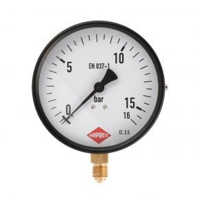"Pressure gauge 1/4"" 16 bar under connection 100 mm"