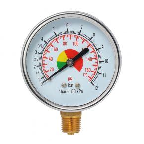 """Pressure gauge 1/4"""" 12 bar bottomside connection"""