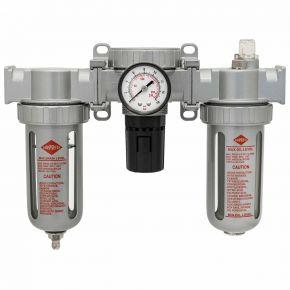 "Oil-/Water seperator Pressure reducing valve and Oil Lubricator 1/2"" 15 bar"