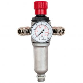 "Pressure reducing valve 3/8"" 10 bar with 2 quick couplings"