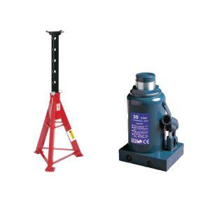 Bottje jack 30 ton 465 mm dish height and jack stand JJ 16 ton 670-1020 mm Plug & Play