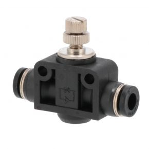 Push in coupling 6 x 6 mm with flow adjustment screw