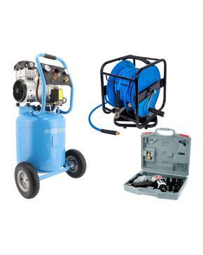 Silent oil free air compressor LMVO 40-250 8 bar 2 hp 150 l/min 38 l Job Package