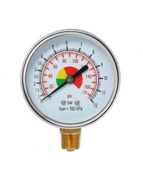 "Pressure gauge 1/4"" 12 bar bottomside connection"