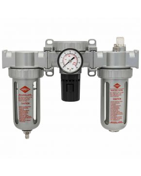 "Oil-/Water seperator Pressure reducing valve and Oil Lubricator 1/2"" 15 bar"