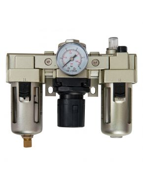 "Oil-/Water seperator Pressure reducing valve and Oil Lubricator 1/2"" 10 bar 25 micron"