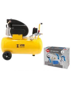 Compressor 8LC50-2.0 VRB 8 bar 2 hp 200 l/min 50 l Plug & Play
